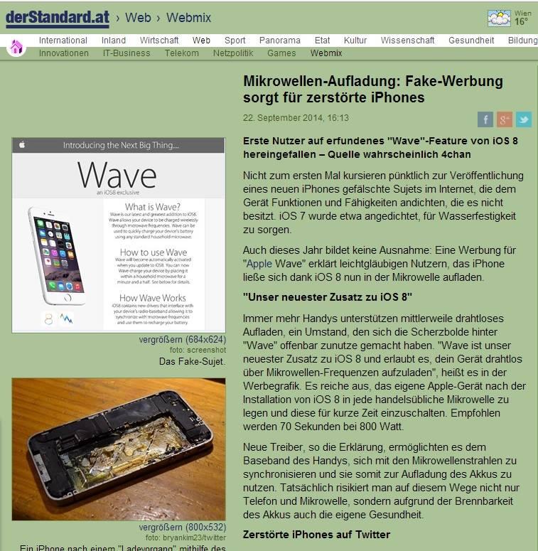 iPhone in der Mikrowelle aufladen