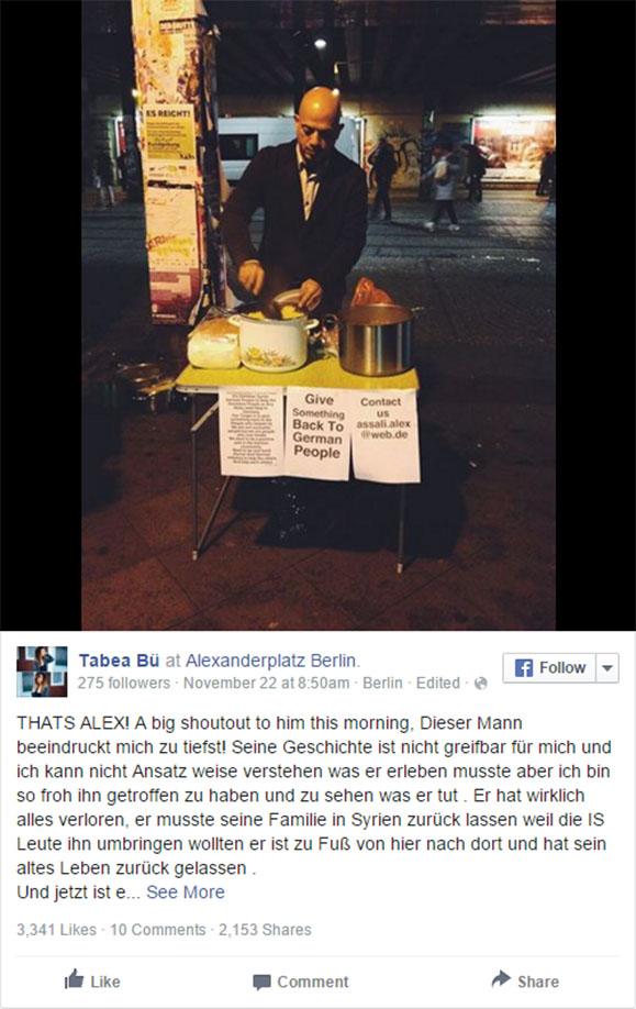 Syrischer Flüchtling kocht für Obdachlose