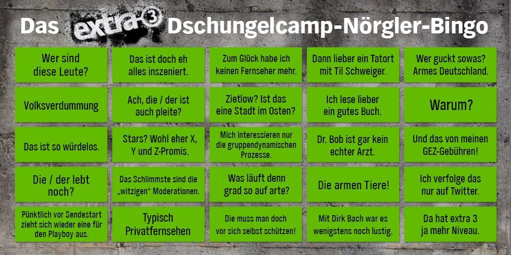 Dschungelcamp Nörgler-Bingo